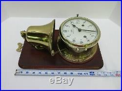 Vintage Schatz Royal Mariner Marine Ship 8 Day Bell Clock & Key Brass Germany