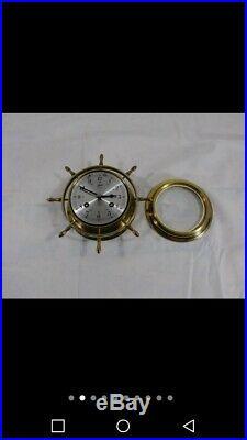 Vintage Schatz Royal Mariner Ships Bell 8 Day Nautical Wheel Clock