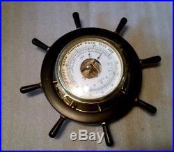 Vintage Schatz Royal Mariner. Ships Bell 8 Day Wheel Clock & Barometer-Germany