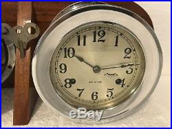 Vintage Sea-Chime 8 Day Ships Bell Clock Key Wind Barometer Parts or Repair