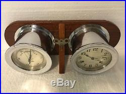 Vintage Sea-Chime 8 Day Ships Bell Clock Key Wind With Barometer Works