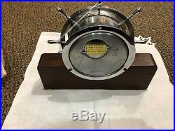 Vintage Seth Thomas Brass Ships Wheel Bell Clock 5001 Wood & Brass