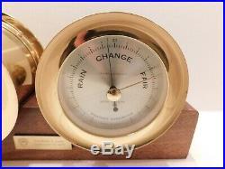 Vintage Seth Thomas Corsair Brass Maritime Ships Bell Clock & Barometer Set