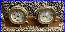 Vintage Seth Thomas Helmsman B Ships Bell Clock And Barometer Desk Set