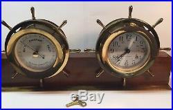 Vintage Seth Thomas Helmsman Ships Bell Clock And Barometer Model E537-001