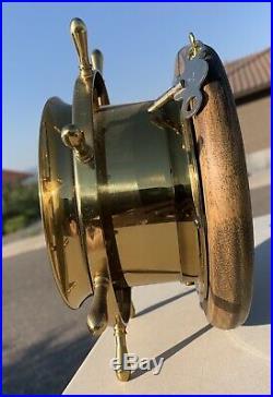 Vintage Seth Thomas Helmsman nautical ships bell clock Made in USA & WOOD BASE