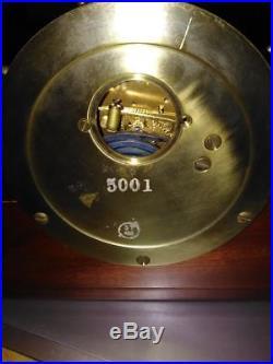 Vintage Seth Thomas Mayflower 3 Brass Ships Wheel Bell Clock 5001 Wood & Brass