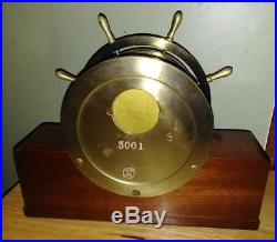 Vintage Seth Thomas Mayflower 3 Brass Ships Wheel Bell Clock 5001 Wood & Brass