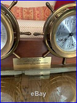 Vintage Seth Thomas Ships Bell Chiming Brass Mantle Clock & Barometer Helmsman