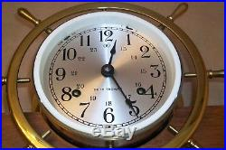 Vintage Seth Thomas Ships Bell Clock And Barometer Mahogany & Brass