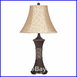 Vintage Table Lamp Set of 2 Bell Shade Rustic Decor Lights 28'' Antique Accent