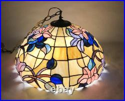 Vintage Tiffany Style Stained Glass Lamp Hanging Chandelier 20 Inch Diameter