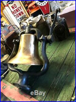 Vintage Train Locomotive BRASS BELL in CAST IRON FRAME Railroad RR AnTiQuE OLD