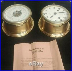 Vintage Two Aug. Schatz & Sohne Ships Bell Clock Precision Barometer/Thermometer