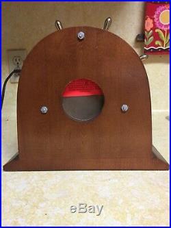 Vintage USA Boston 7 Jewels Brass Ships Bell Chimes Clock Wood Base