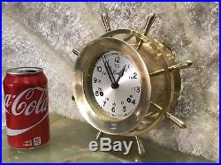 Vintage USA Chelsea 7 Jewels Brass Ships Bell Chimes Clock Boston Working
