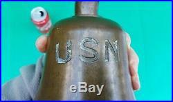 Vintage USN US NAVY Naval Bronze Brass Ship Bell w mounting bracket