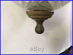 Vintage WATERFORD BELL JAR CRYSTAL BRASS LANTERN CHANDELIER COLONIAL FIXTURE
