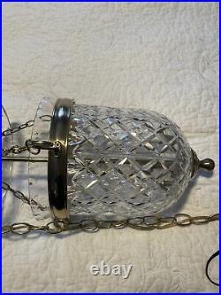 Vintage Waterford Crystal Bell Jar Lantern Brass Colonial Chandelier Pendant