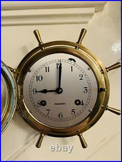Vintage West German Brass cased precision 8 Ships Bell ringing bulkhead Clock