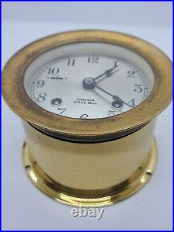 Vintage Working 1970 CHELSEA SHIP'S BELL STRIKE Brass Marine Porthole Clock