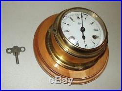 Vintage Working Barigo Germany Brass Ship's Bell Strike Porthole Wall Clock