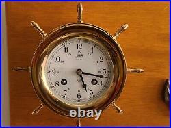Vintage Working SCHATZ'Ships Bell' Marine Maritime Brass Ship Wheel Wall Clock