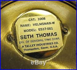 Vintage brass Seth Thomas Helmsman Ships Clock E537-001 ship bell chime works