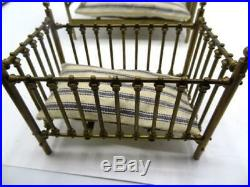 Vintage brass doll house small Bed crib Clare Bell Brass