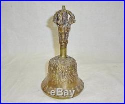 Vintage hand BELL BRONZE FIGURE metal brass Antique Victorian bells