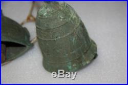 Vintage or antique BRASS COW BELLS LARGER BELLS OLD BELLS TWO BELLS PAIR
