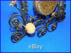 Vtg Antique Art Deco Dinner Hallway Bell Gong Wrought Iron Scroll Bronze Brass