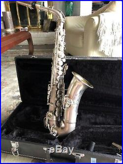 Vtg Antique Conn Alto Saxophone W Mop 1919 Silver Plate Gold Wash Bell