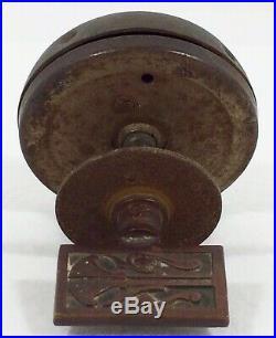 Vtg Antique Crank Door Bell Turn Key Brass Metal ART NOUVEAU Knob Works USA