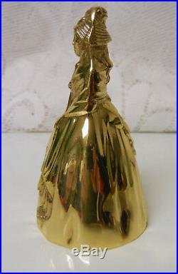 Vtg Antique Polished Brass / Bronze Lady Maiden w Scarf Figural Tea Bell