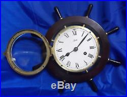 Vtg Aug. Schatz & Sohne Ship Nautical Bell Clock With Key Tested & Working