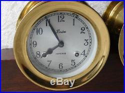Vtg Chelsea Boston 5 1/2 Brass Ship Bell Mantle Clock & Barometer Set