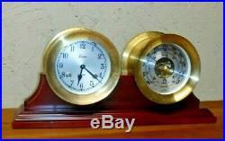 Vtg Chelsea Boston 5 1/2 Brass Ship Bell Mantle Clock & Barometer Set Working