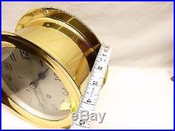 Vtg Chelsea Ships Bell Maritime Clock 6 Brass Case Nautical + Stand Key Manual