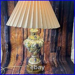 Vtg Decor Lamp Porcelain 1940 Victorian Hand Painted Floral Pattern Gold Brass