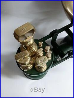 Vtg English The Salter Kitchen Scale Green 7 Brass Bell Weights Original Box