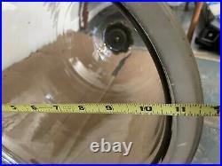 Vtg Large 3-Lights Bell Jar Pendant Chandelier Brass Clear HandBlown Glass
