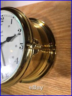 Vtg Schatz German Marine Ships Ocean Qrtz Bell Clock & Precision Barometer Brass