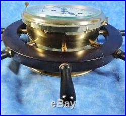 Vtg. Schatz ROYAL MARINER Ship's 8 Day, 8 Bell Key Wind Clock, Wood Wheel, EUC