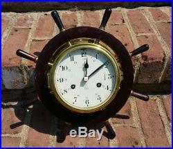 Vtg Schatz Royal Mariner Ships Bell Clock 8-Day Brass Wheel TESTED & WORKING