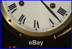 Vtg TREND Ships Bell Clock 8-Day Brass with Wood ship Wheel pre 1968 Zeeland Mi
