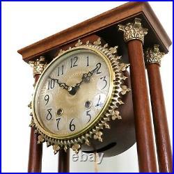 WARMINK Mantel Clock Vintage Pillar DOUBLE Bell Chime SERVICED! HIGH GLOSS Dutch