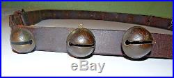 WOW! Antique Brass Sleigh Bells Horse Reindeer Numbered Graduated 55 Leather