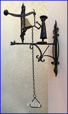 WROUGHT IRON DOOR BELL, Vtg Atq Mission Brass Dinner Chime Architectural Salvage