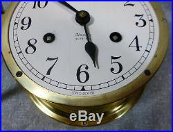 WWII Vintage Brass Maritime Admiralty Ships Bell Clock by Low Clock Co